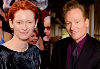 Tilda Swinton and Conan OBrien
